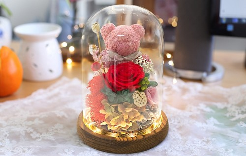 Preserved Royal Blue Rose & Assorted Flower Arrangements with Pink Teddy Bear LED Strip Light in Glass Dome & Wooden Base D