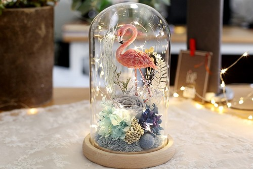 Preserved Sky Blue Rose & Assorted Flower Arrangements with Pink Flamingo LED Strip Light in Glass Dome & Wooden Base