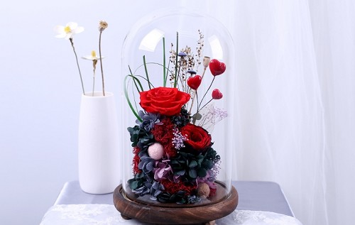 Preserved Red Roses & Assorted Flower Arrangements with LED Strip Light in Glass Dome & Wooden Base