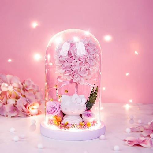 Hello Kitty x HerBeauty - Preserved Roses & Assorted Flower Arrangements with LED Strip Light in Tall Glass Dome with Base